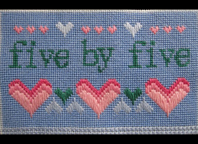 Five - 5x7 - wool floss, canvas