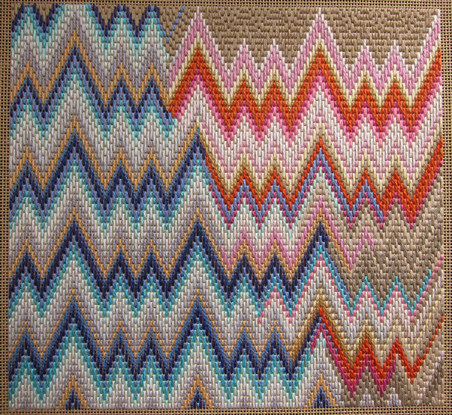 Up In Flame Stitches - 10x10.5 - wool-floss, canvas