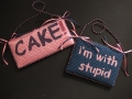 Best Friends & Cake - 3.75x7 - I'm With - 4.5x6 - wool floss, canvas, ribbon, velvet